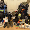 All of our gear for 5 days of hiking and camping.