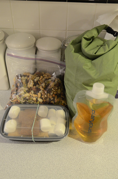 All the food packed up into the green food bag. Can't forget the soft flask of Bushmills Irish Whiskey!