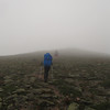 once above tree line we hike in 40MPH winds and fog...