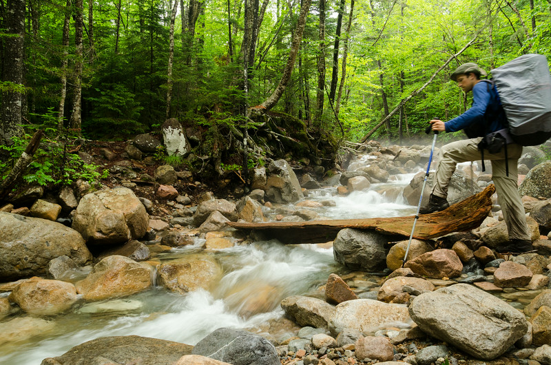 I did this crossing 5 times. Once over and back without any gear (to make sure the log would hold up and I wouldn't fall in with everything), Then again in this series, then back again to get my camera, and over once  more to continue on the trail
