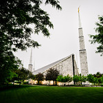 Chicago LDS Temple - Wet summer morning