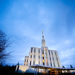 Seattle LDS Temple - Rainy winter evening