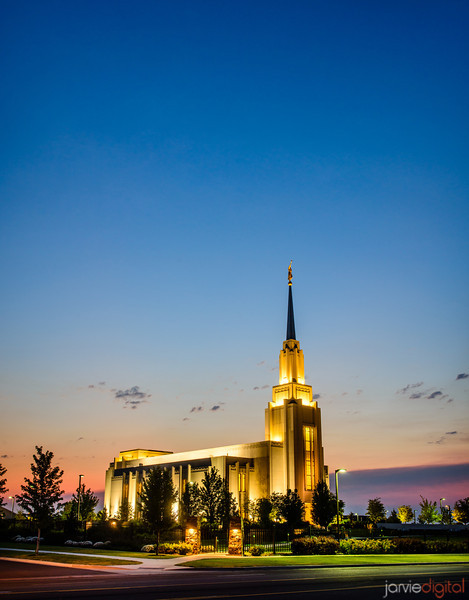 Twilight at Twin Falls Temple