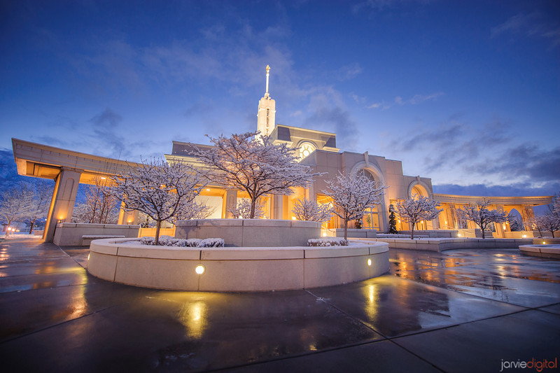Timpanogos Temple early morning in January after a snow fall