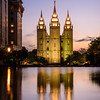 Salt lake temple reflection in Temple Square water features