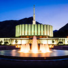 Provo LDS Temple - Early morning twilight with fountain
