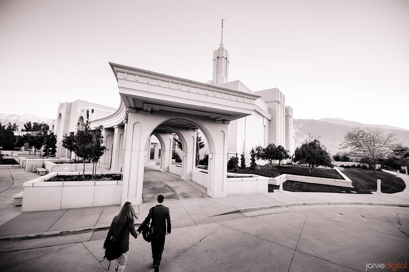 Mt Timpanogos LDS Temple - Early morning Twilight - Couple going into temple