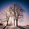 Nauvoo LDS Temple - Sunrise  after a winter Ice Storm with a dramatic vignette.
