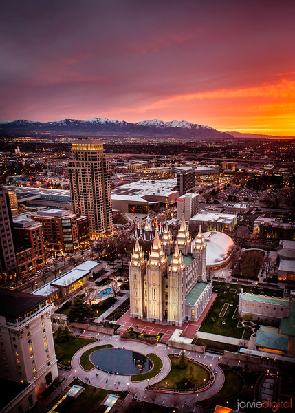 Salt Lake temple and the salt lake valley right after sunset