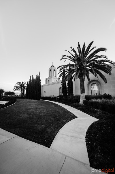 Newport Beach Temple in Black and White