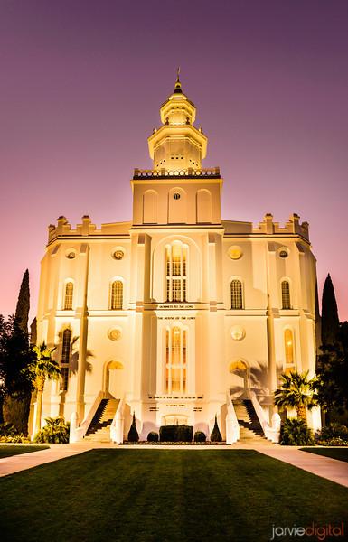 St George Utah LDS Temple - Evening twilight