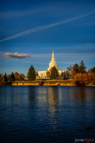 Idaho Falls LDS Temple from across the  River