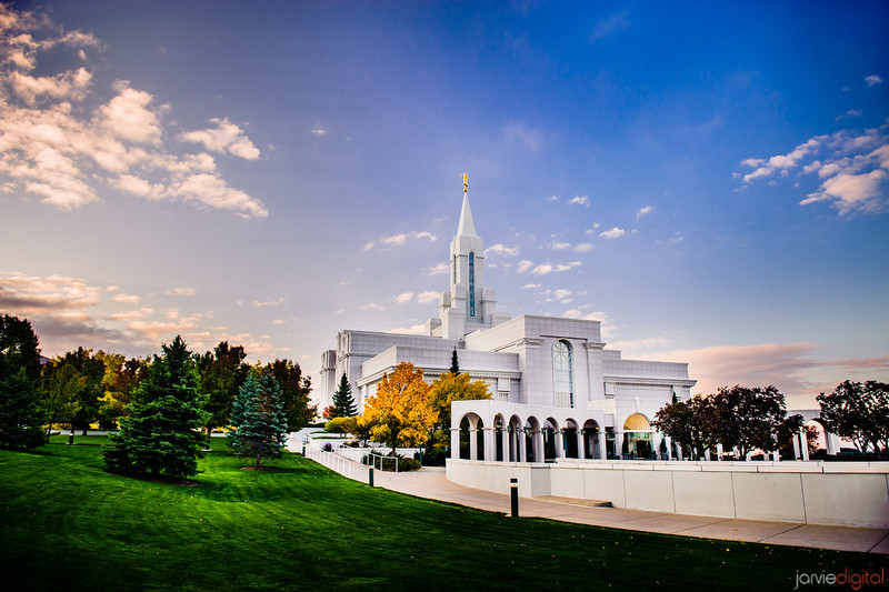 Bountiful Utah LDS Temple - Early Morning Sunrise on a Fall day