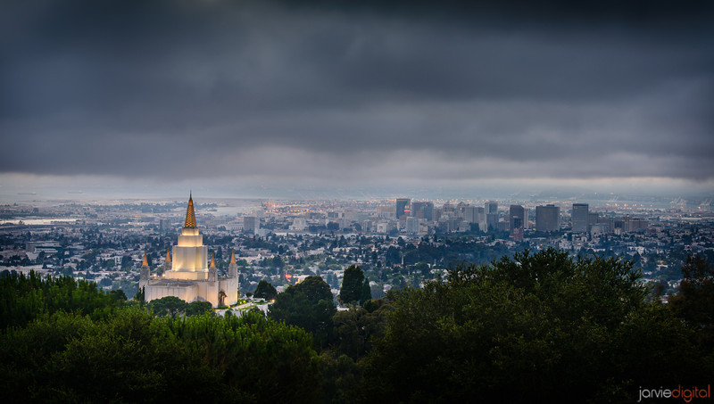 Oakland California LDS Temple from overlook