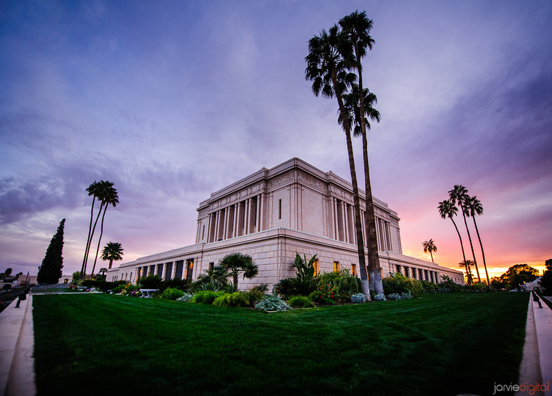 Mesa LDS Temple at sunset