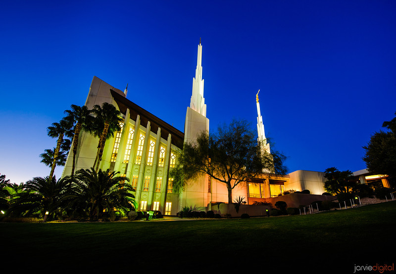 Las Vegas LDS Temple in the evening