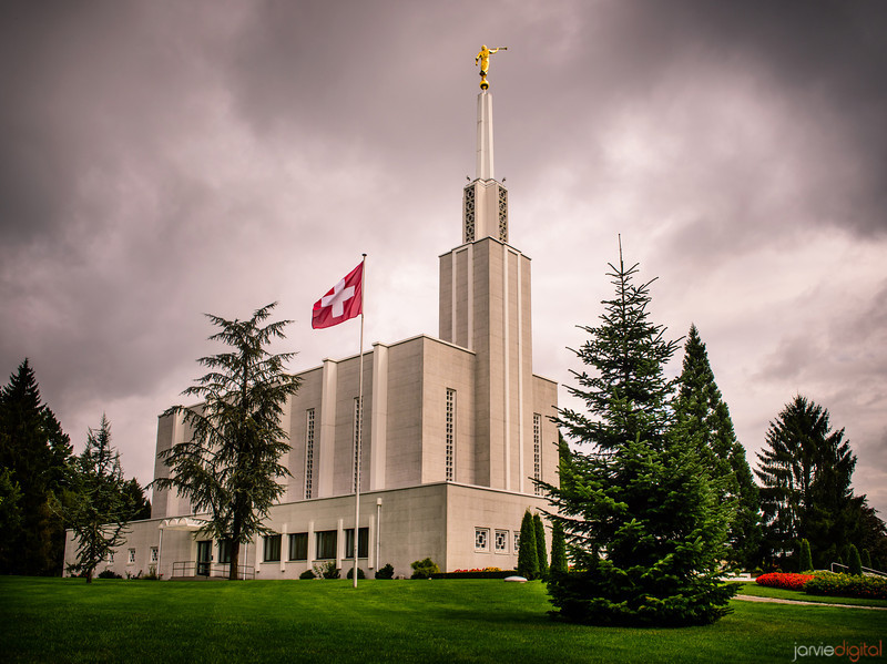 Switzerland LDS Temple on an early summer Morning