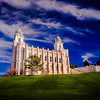 Manti Utah LDS Temple - Cloudy morning with very blue skies