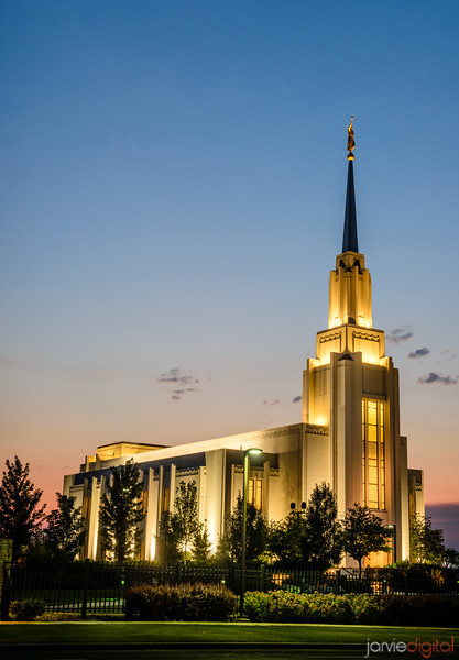 Twilight at Twin Falls Temple