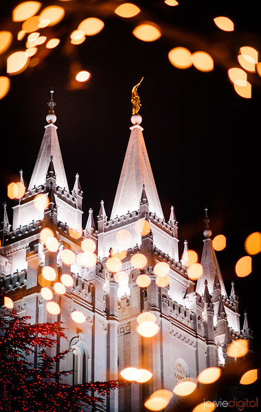 Salt Lake Temple at Twilight at Christmas time