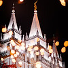 Salt Lake Temple at Twilight at Christmas time