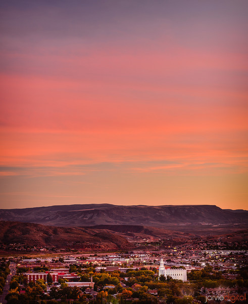 St George Utah LDS Temple and the valley at sunset