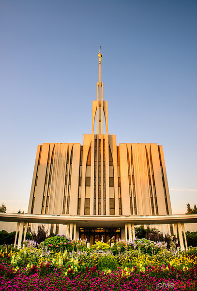 Seattle LDS Temple at Sunset
