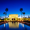 Mesa LDS Temple reflected in Temple grounds water features