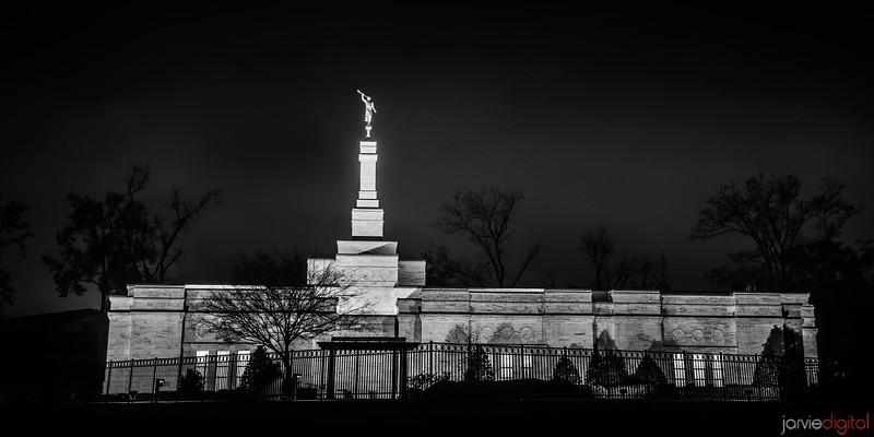 Baton Rouge LDS Temple - Winter night with city lights in background