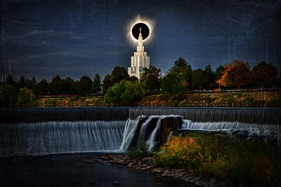 idaho falls temple and water eclipse behind steppletotality