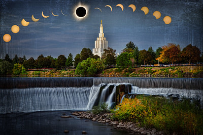 idaho falls temple and water eclipse