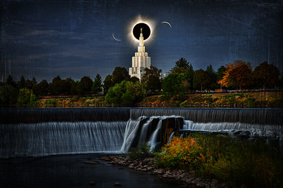 idaho falls temple and water eclipse behind steppletotality 1st and last