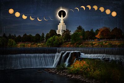 idaho falls temple and water eclipse behind stepple