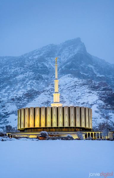 Provo Temple Snow Mountain