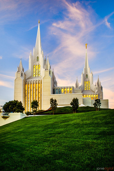 San Diego Temple Sunset on the hill