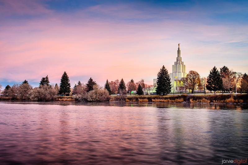 Idaho Falls Temple Sunrise with River