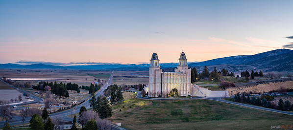 Manti Temple Morning Valley - airpano