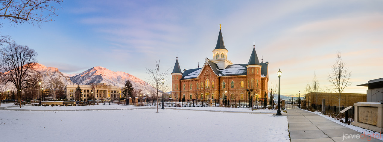 Provo City Temple Snow Panorama