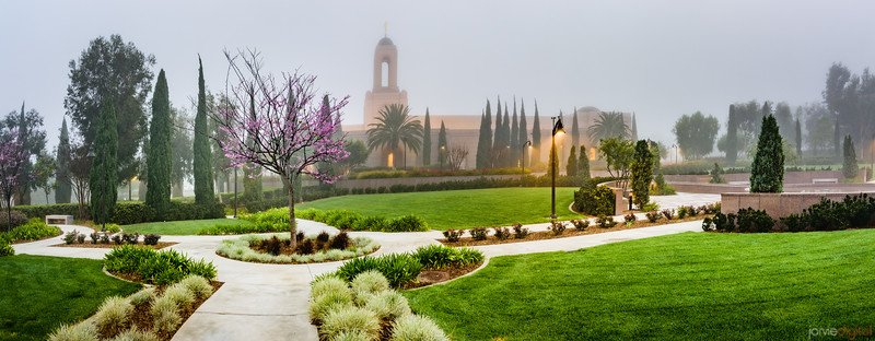 Newport Beach Temple - Misty Morning (pano)