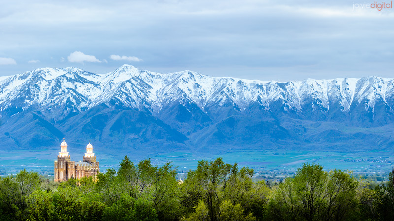 Panoramic Logan temple and wellsville mountains