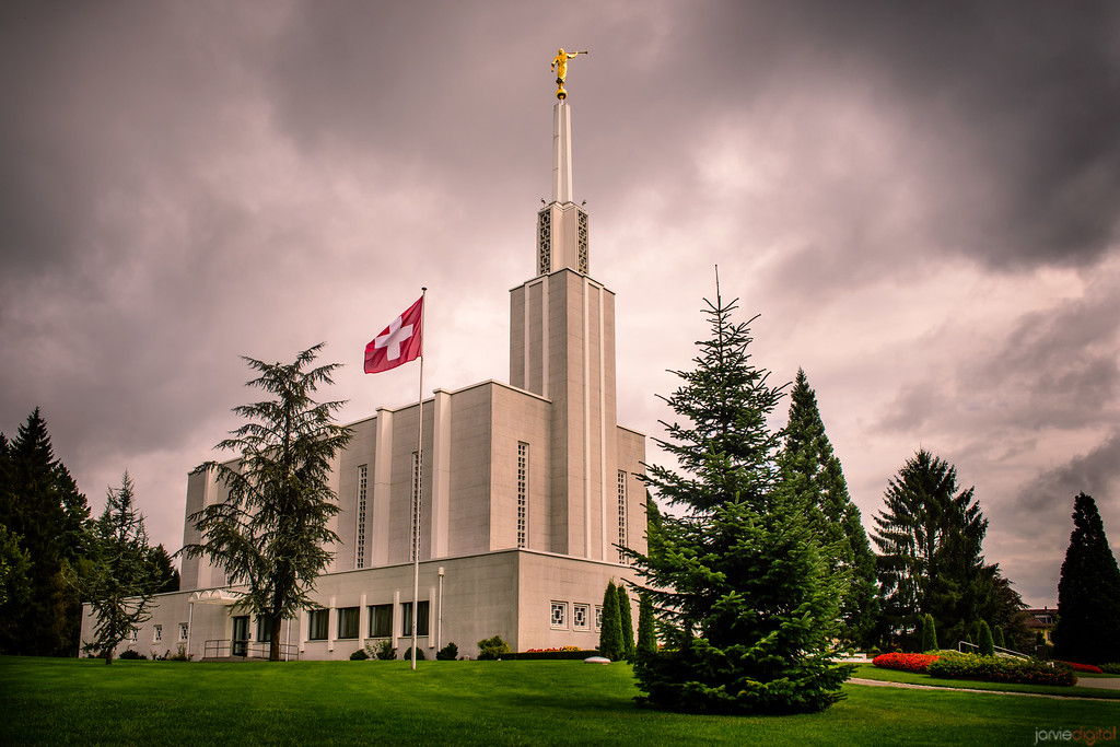 Switzerland Temple Morning With Flag