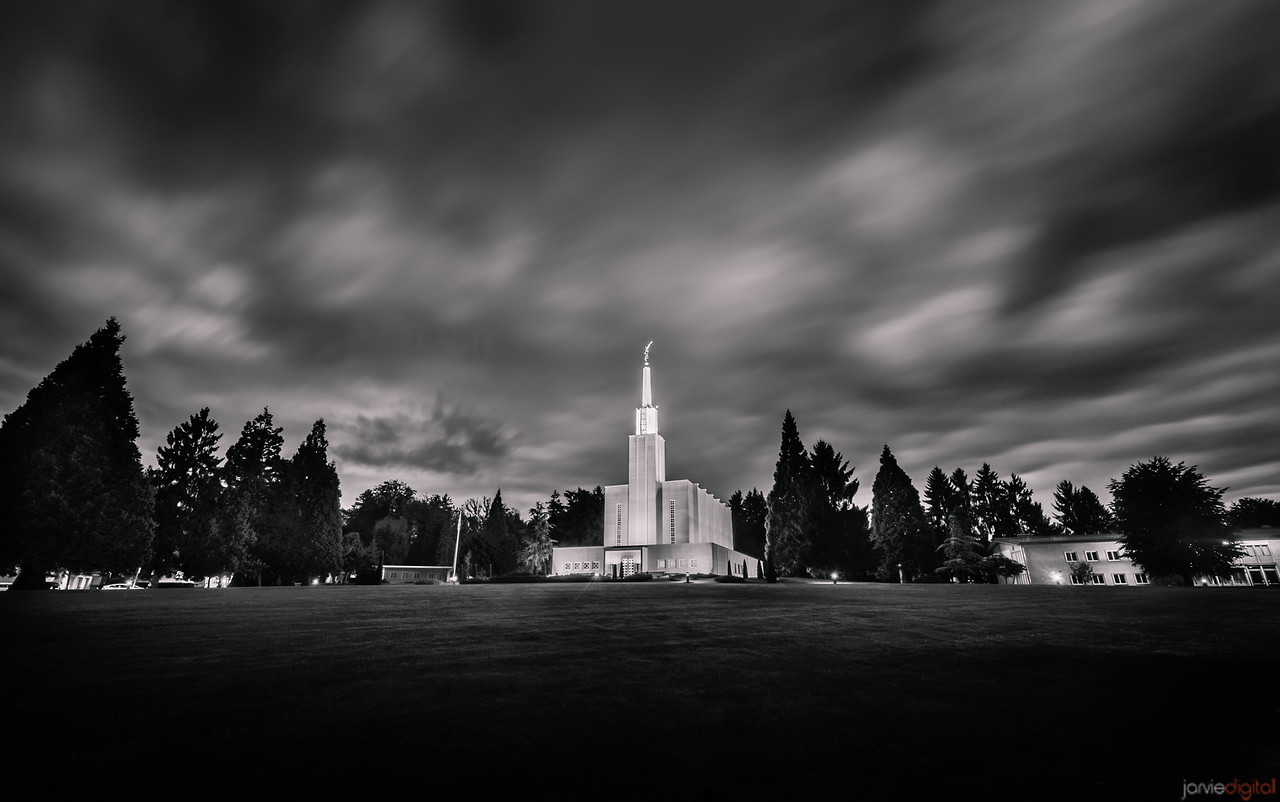 Switzerland Temple Morning BW