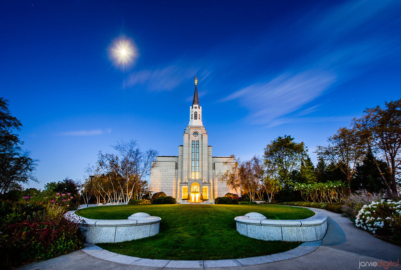 Boston LDS Temple twilight moon