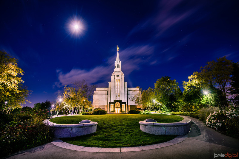 Boston LDS Temple Night Moon