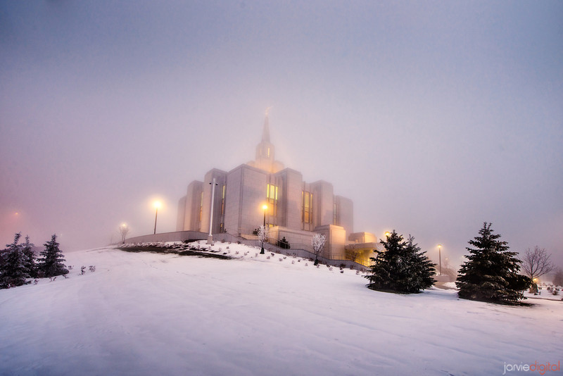 Calgary Temple Foggy morning
