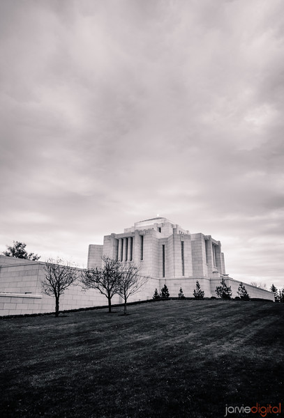 Cardston Temple Corner BW