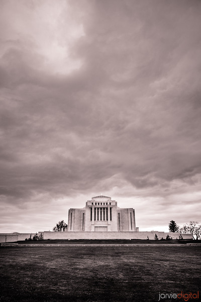 Cardston Temple BW Skies