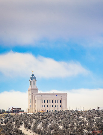 Cedar City Temple - Blue sky and snow