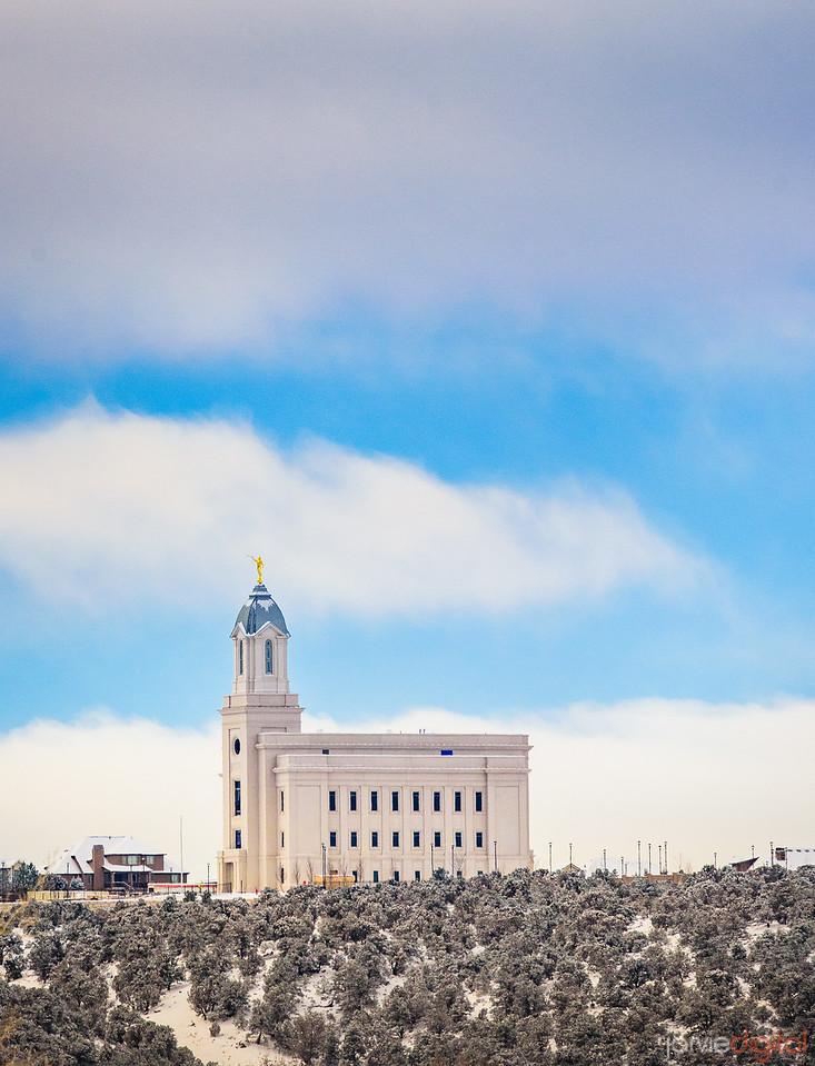 Cedar City Temple - Blue sky and snow