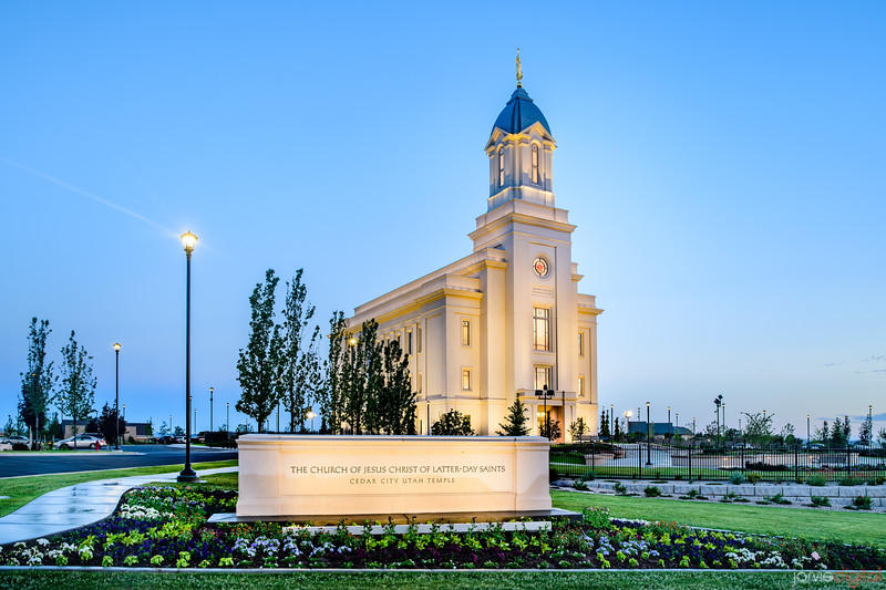 Cedar City LDS Temple - Blue skies sign